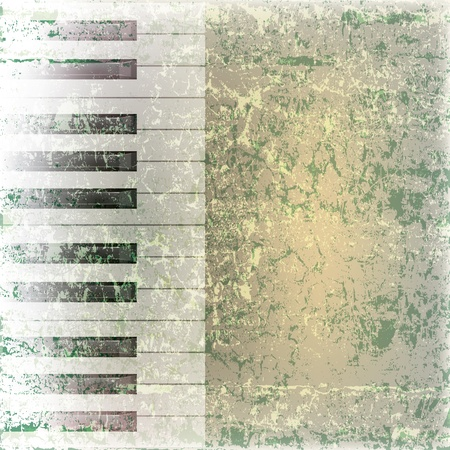 abstract grunge music background with piano keys on green Vector