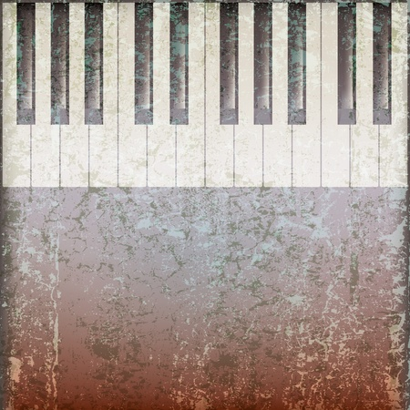 abstract grunge music background with piano keys on grey Stock Vector - 9716960