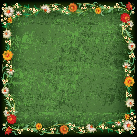 abstract floral ornament with flowers on grunge green background Vector