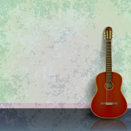 green grunge background: abstract green grunge background with acoustic guitar Illustration