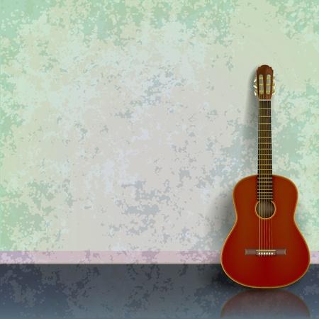 guitarra acustica: fondo abstracto grunge verde con guitarra ac�stica