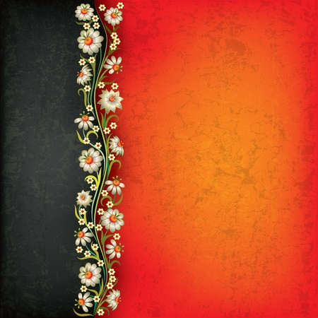 abstract grunge black red background with floral ornament Stock Vector - 9817359