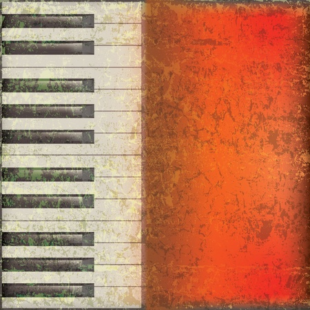 abstract grunge music background with piano keys on red Vector
