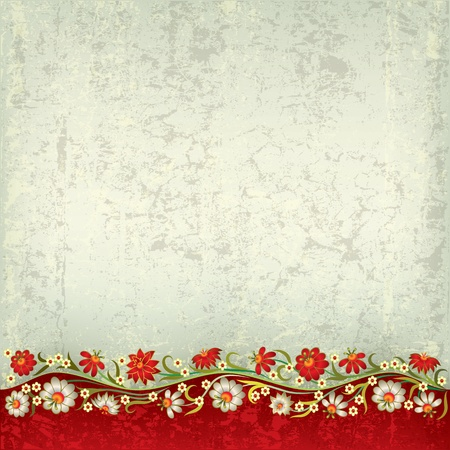 retro revival: abstract grunge red grey background with floral ornament Illustration