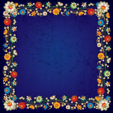 abstract blue grunge background with floral ornament Stock Vector - 9817644