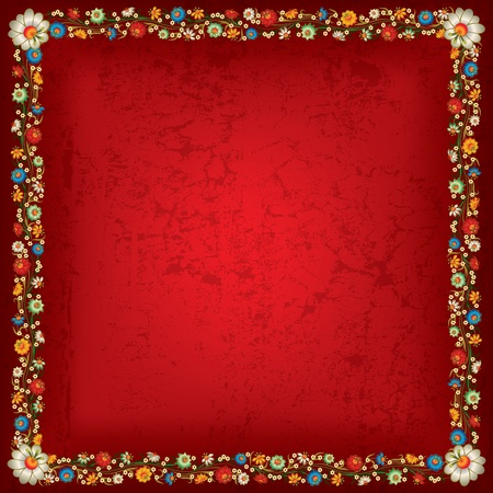 abstract grunge red background with floral ornament Vector