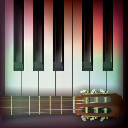 abstract music background with guitar and piano Vector