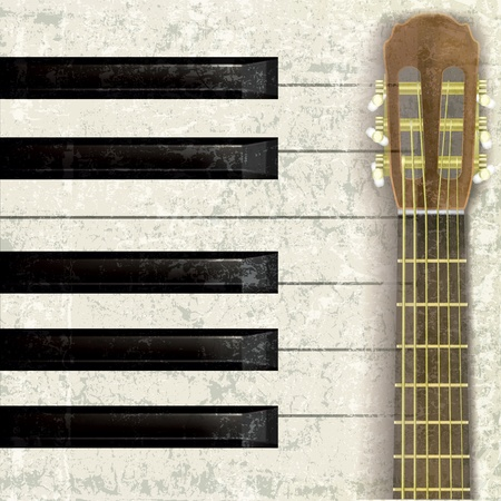 classical style: abstract musical grunge background with guitar and piano