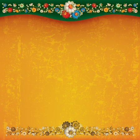 abstract yellow grunge background with floral ornament Stock Vector - 9817636