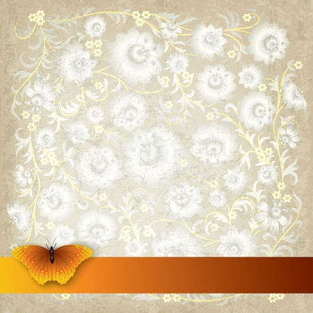 florid: abstract grunge beige background with butterfly and flowers