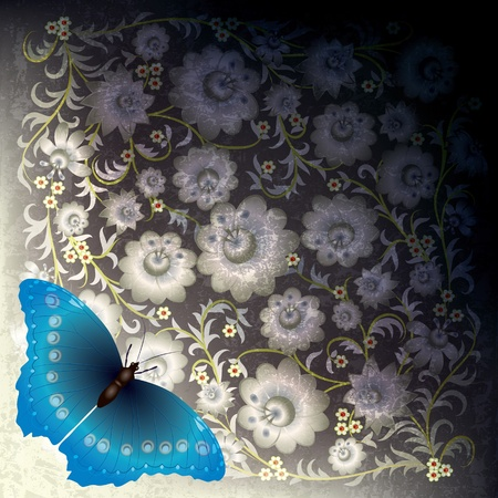 florid: abstract grunge black white background with butterfly and flowers