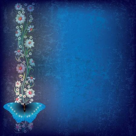 dessin papillon: abstraite grunge fond bleu avec le papillon et fleurs