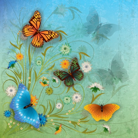 florid: abstract grunge color background with butterflies and flowers Illustration
