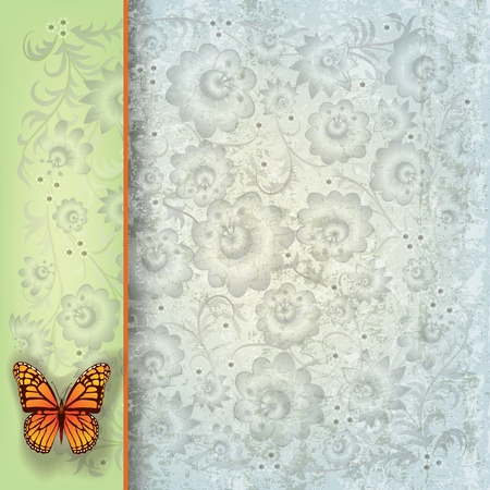 abstract grunge green blue background with butterfly and flowers Vector