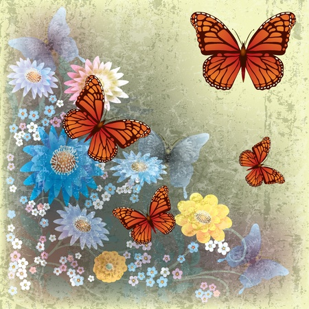 florid: abstract grunge illustration with butterflies and flowers on beige