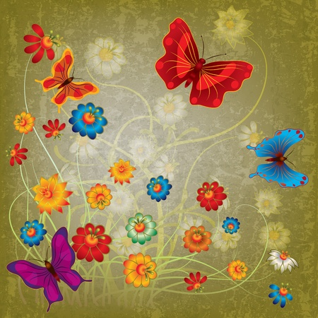 florid: abstract grunge illustration with butterflies and flowers on green Illustration