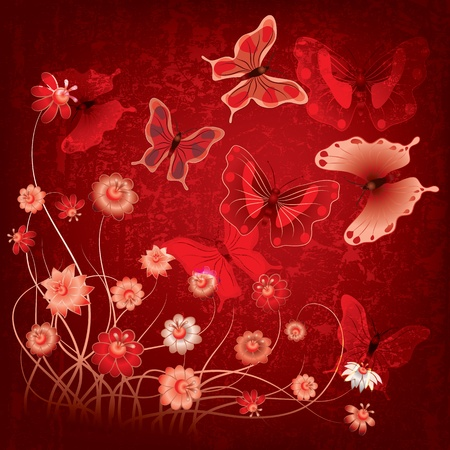 abstract grunge illustration with butterflies and flowers on red Vector