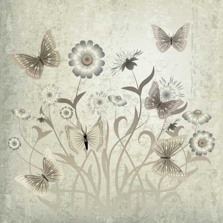 florid: abstract grunge illustration with butterfly and flowers on beige