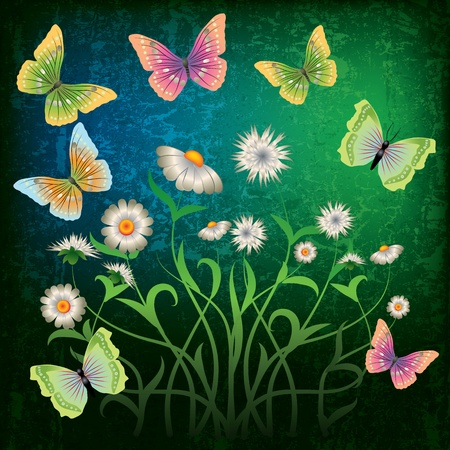 florid: abstract grunge illustration with butterfly and flowers on green