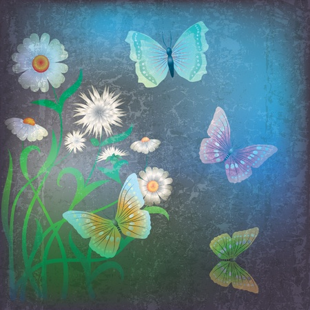 abstract grunge illustration with flowers and butterfly on dark Stock Vector - 9817703