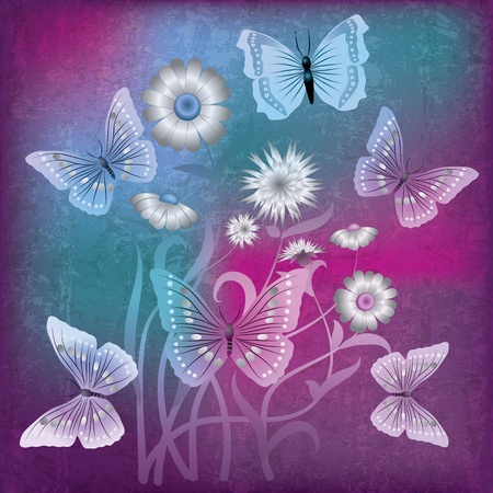 florid: abstract grunge illustration with flowers and butterfly on purple