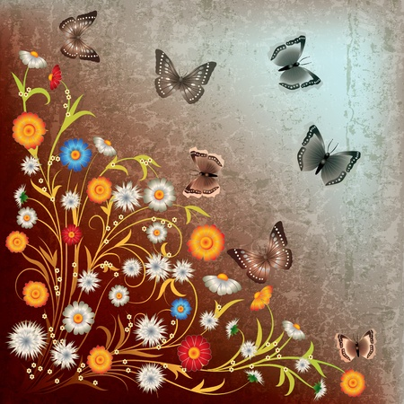 florid: abstract grunge illustration with flowers and butterfly