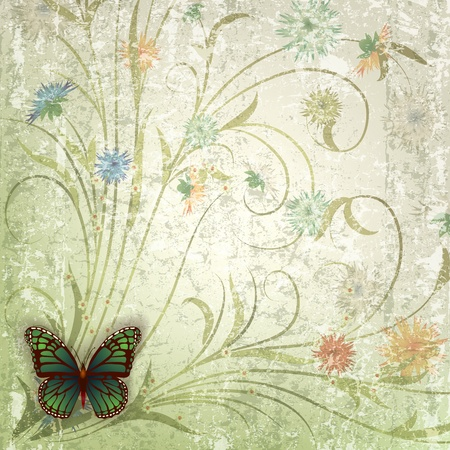 florid: abstract grunge background with green butterfly and flowers Illustration
