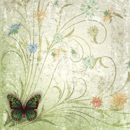 mariposa verde: fondo abstracto grunge con mariposa verde y flores