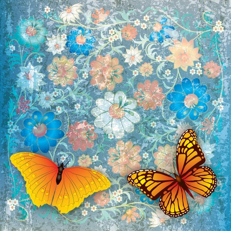florid: abstract grunge blue background with butterflies and flowers Illustration