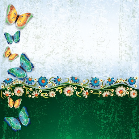 florid: abstract grunge green background with butterflies and flowers Illustration