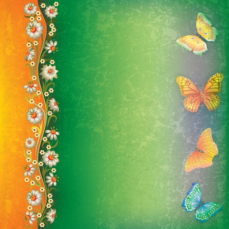 florid: abstract grunge orange green background with butterflies and flowers Illustration