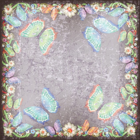 florid: abstract grunge grey background with floral ornament and butterflies