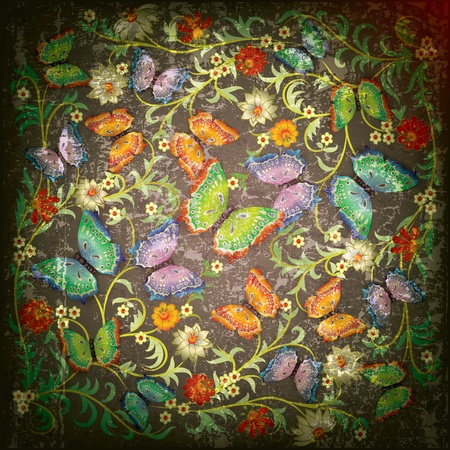 florid: abstract grunge floral ornament and butterflies on green