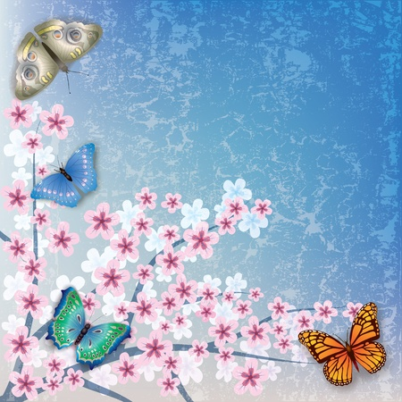 florid: abstract blue grunge background with flowers and butterflies Illustration