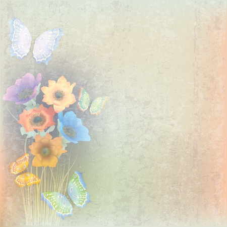 florid: abstract grunge colorbackground with butterflies and flowers Illustration