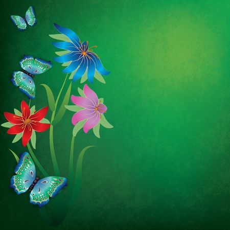 abstract grunge green background with butterflies and flowers Stock Vector - 9839285