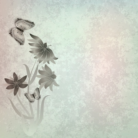 florid: abstract grunge grey background with butterflies and flowers Illustration