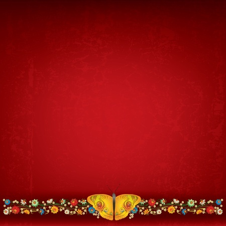 abstract red grunge background with floral ornament and butterfly Vector