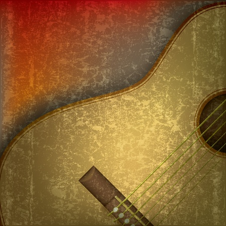 abstract grunge music background with acoustic guitar Vector