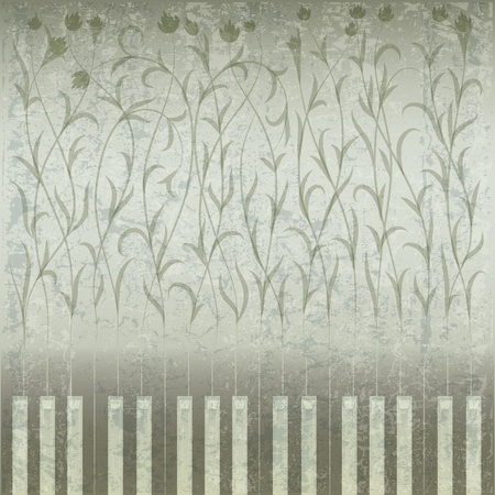 music sheet: abstract grunge music background with piano and floral ornament