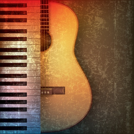 abstract grunge music background with piano and guitar Vector