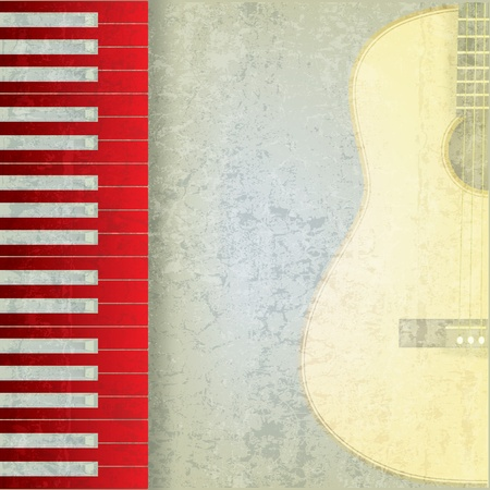 abstract grunge music background with red piano and guitar Vector