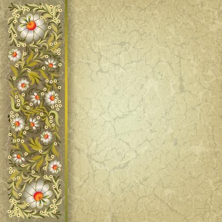 grunge floral ornament on beige vintage background Vector