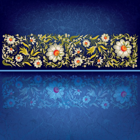 grunge floral ornament on blue vintage background Vector