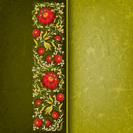 grunge floral ornament on green vintage background Vector