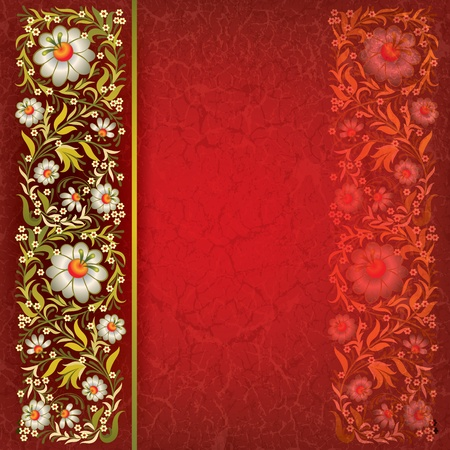 grunge floral ornament on red vintage background Vector