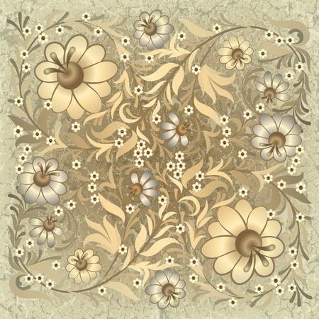 grunge floral ornament on vintage beige background Stock Vector - 9935685