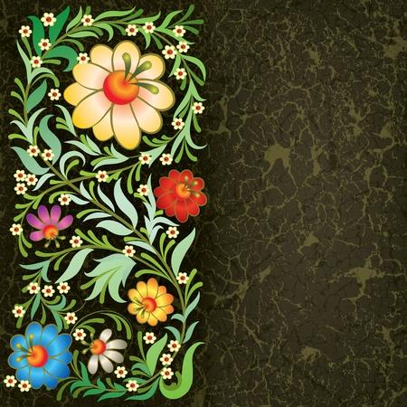 grunge floral ornament on vintage black background