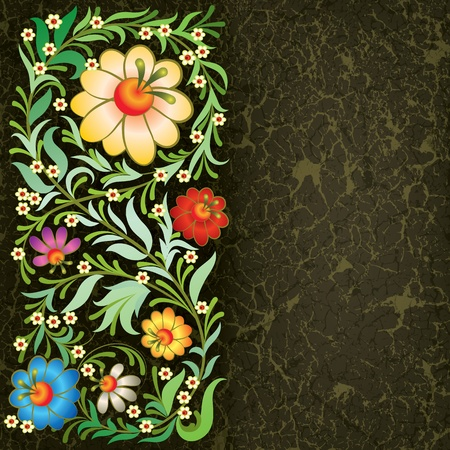swirly: grunge floral ornament on vintage black background