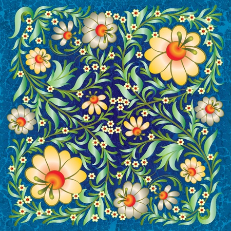 grunge floral ornament on vintage blue background Vector
